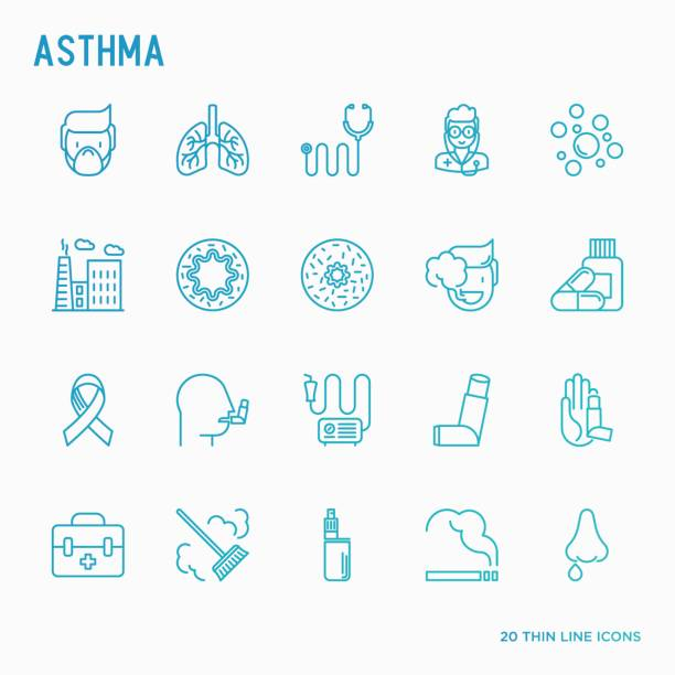 Asthma thin line icons: air pollution, smoking, respirator, therapist, inhaler, bronchi, allergy symptoms and allergens. Vector illustration. Asthma thin line icons set: air pollution, smoking, respirator, therapist, inhaler, bronchi, allergy symptoms and allergens. Vector illustration. inhaling stock illustrations