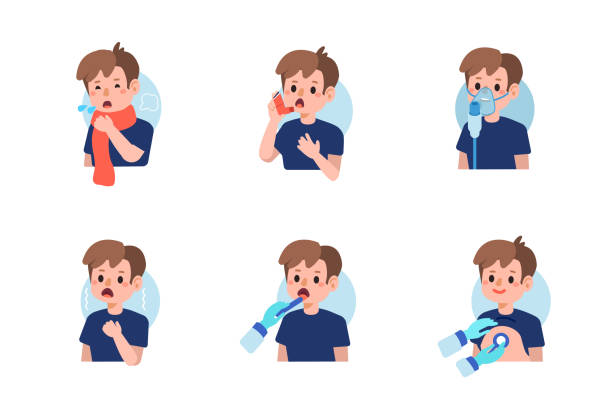 asthma Cute boy have asthma and flu disease.  Flat cartoon vector illustration isolated on white background. inhaling stock illustrations