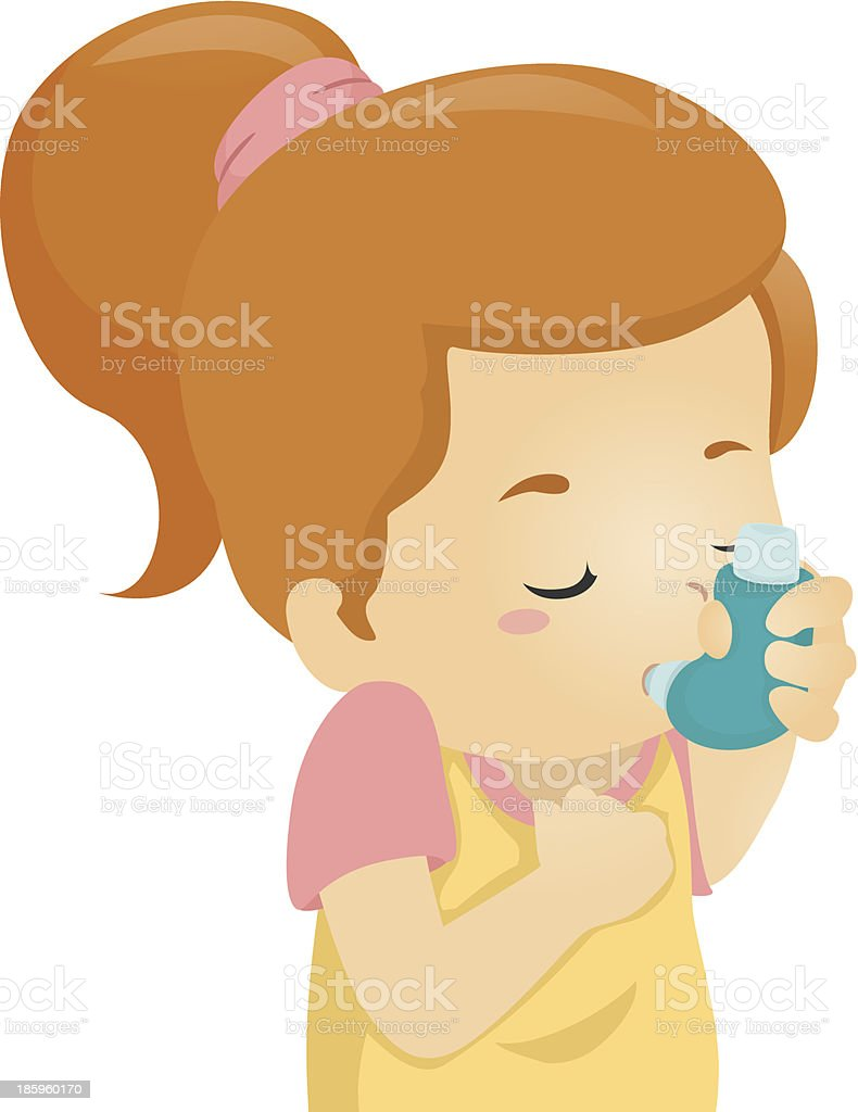 Asthmatic Girl vector art illustration