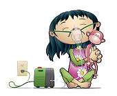 Asthmatic girl taking a nebulizer treatment with his best friend pink monkey.