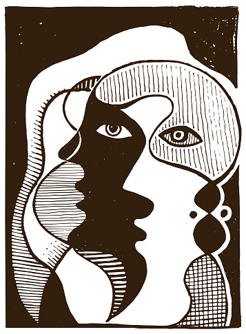 Two faces in an abstract retro style