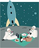 Two jolly astronauts have a low gravity picnic on the moon.