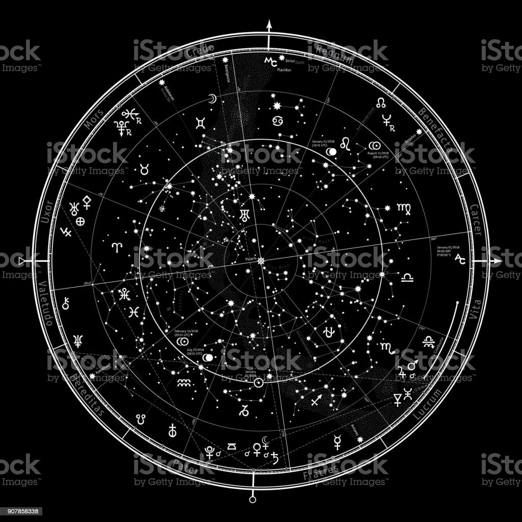 Astrological Celestial map of Northern Hemisphere. Horoscope on January 1, 2018 (00:00 GMT). Detailed outline chart with symbols and signs of Zodiac, planets, asteroids & etc. vector art illustration