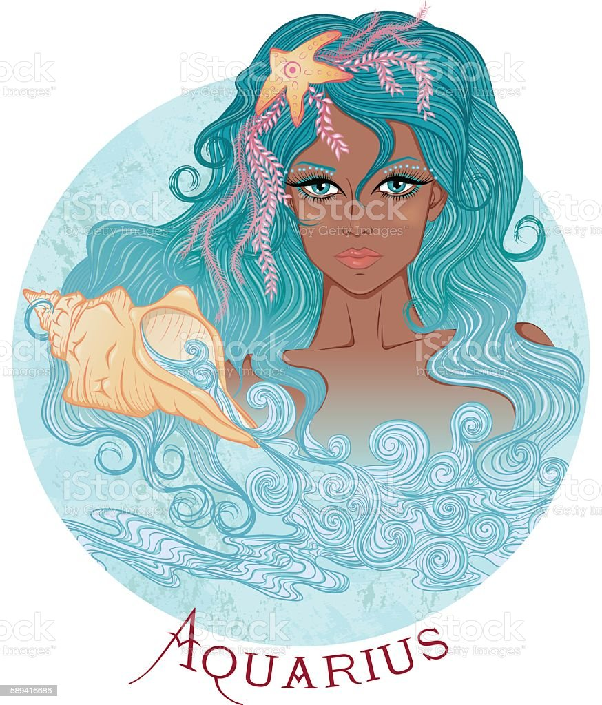 Astrological sign of Aquarius as a beautiful african girl - ilustração de arte vetorial