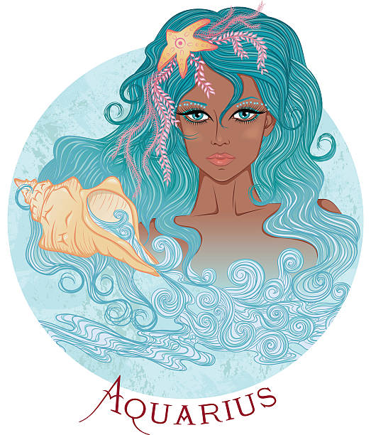 Astrological sign of Aquarius as a beautiful african girl vector art illustration