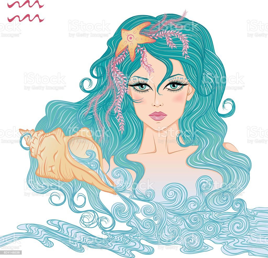 Astrological sign of Aquarius as a beautiful girl vector art illustration