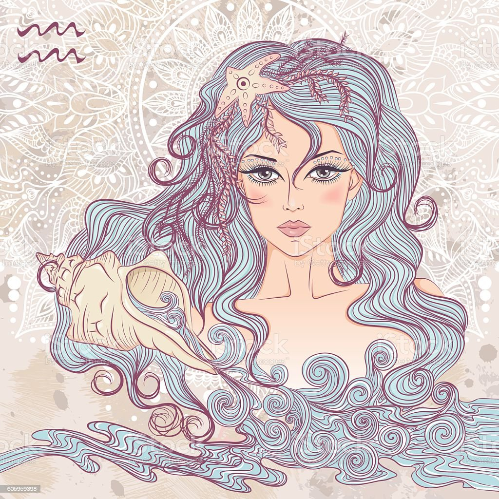Astrological sign of Aquarius as a portrait of beautiful girl - ilustração de arte vetorial