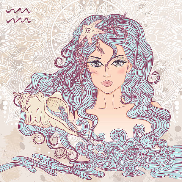 Astrological sign of Aquarius as a portrait of beautiful girl vector art illustration