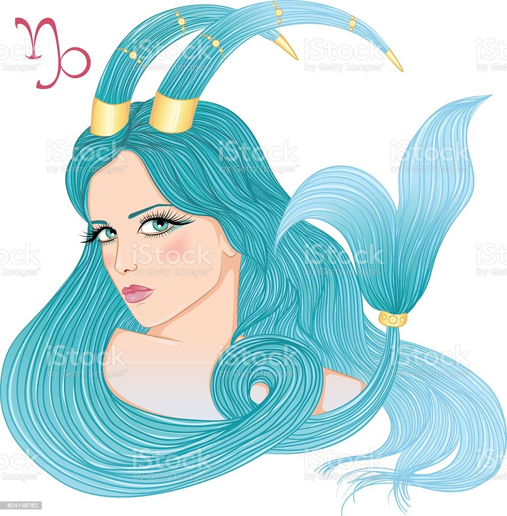 Astrological sign of Capricorn as a beautiful girl vector art illustration