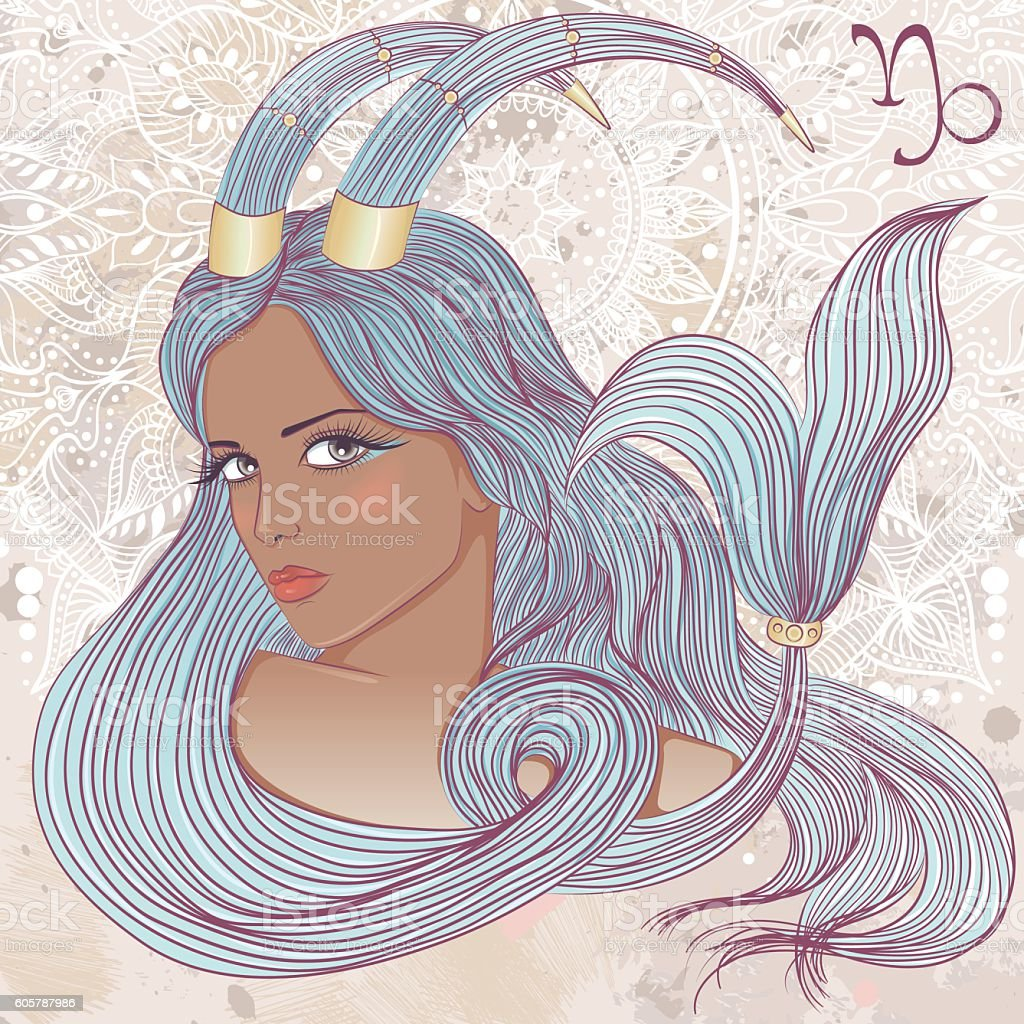 Astrological sign of Capricorn as portrait of beautiful african girl vector art illustration