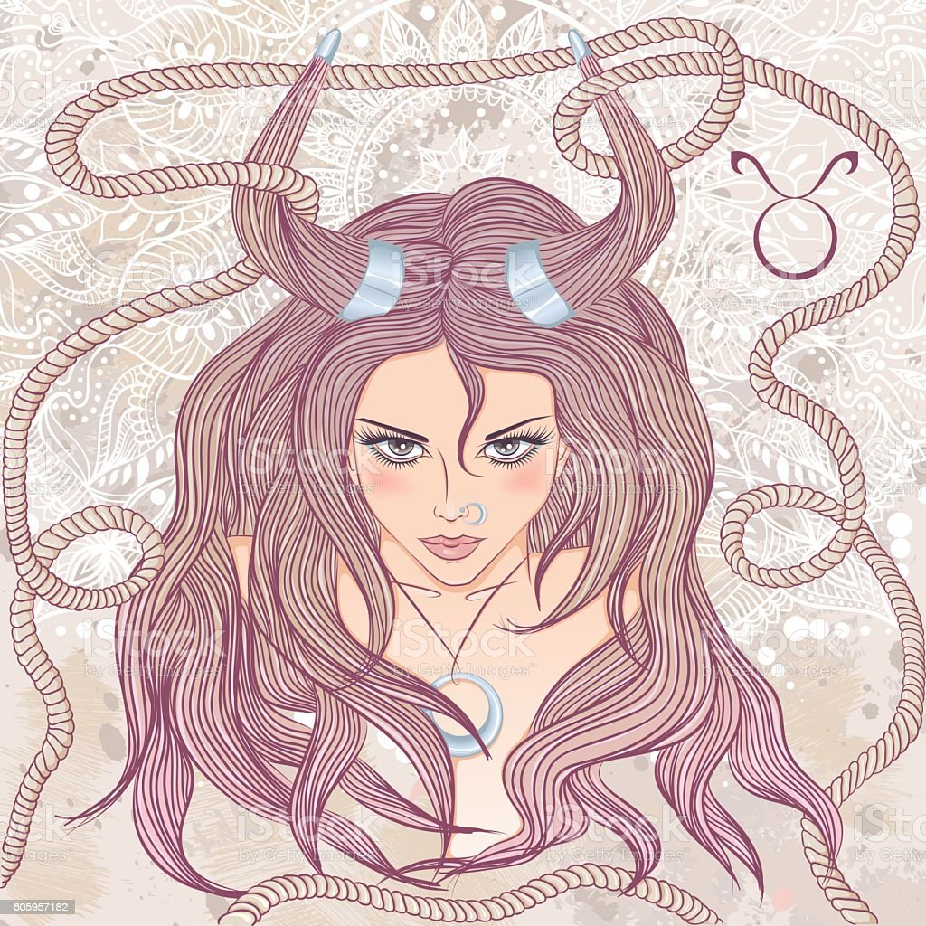 Astrological sign of Taurus as a portrait of beautiful girl vector art illustration