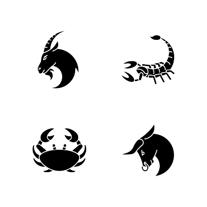 Astrological signs black glyph icons set on white space