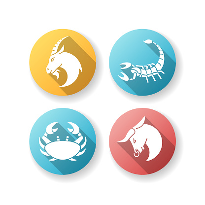 Astrological signs flat design long shadow glyph icons set