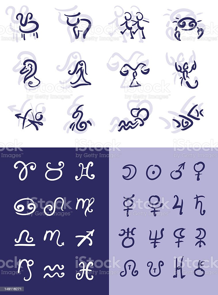 Astrological Symbols Stock Vector Art & More Images of