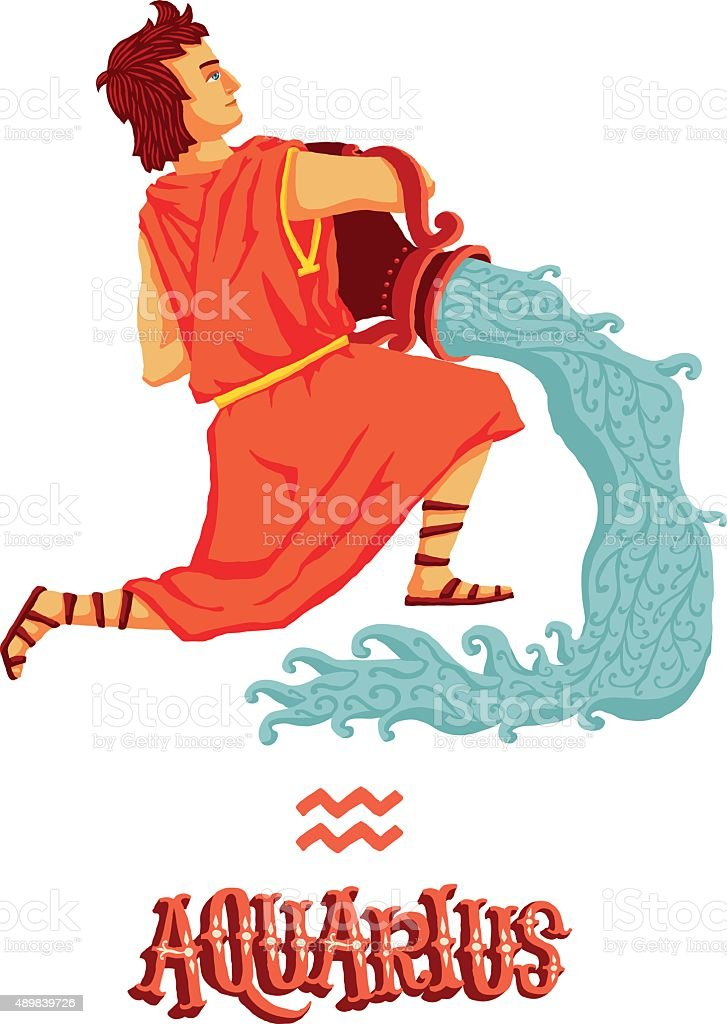 Astrological Zodiac Sign Aquarius Isolated Vector