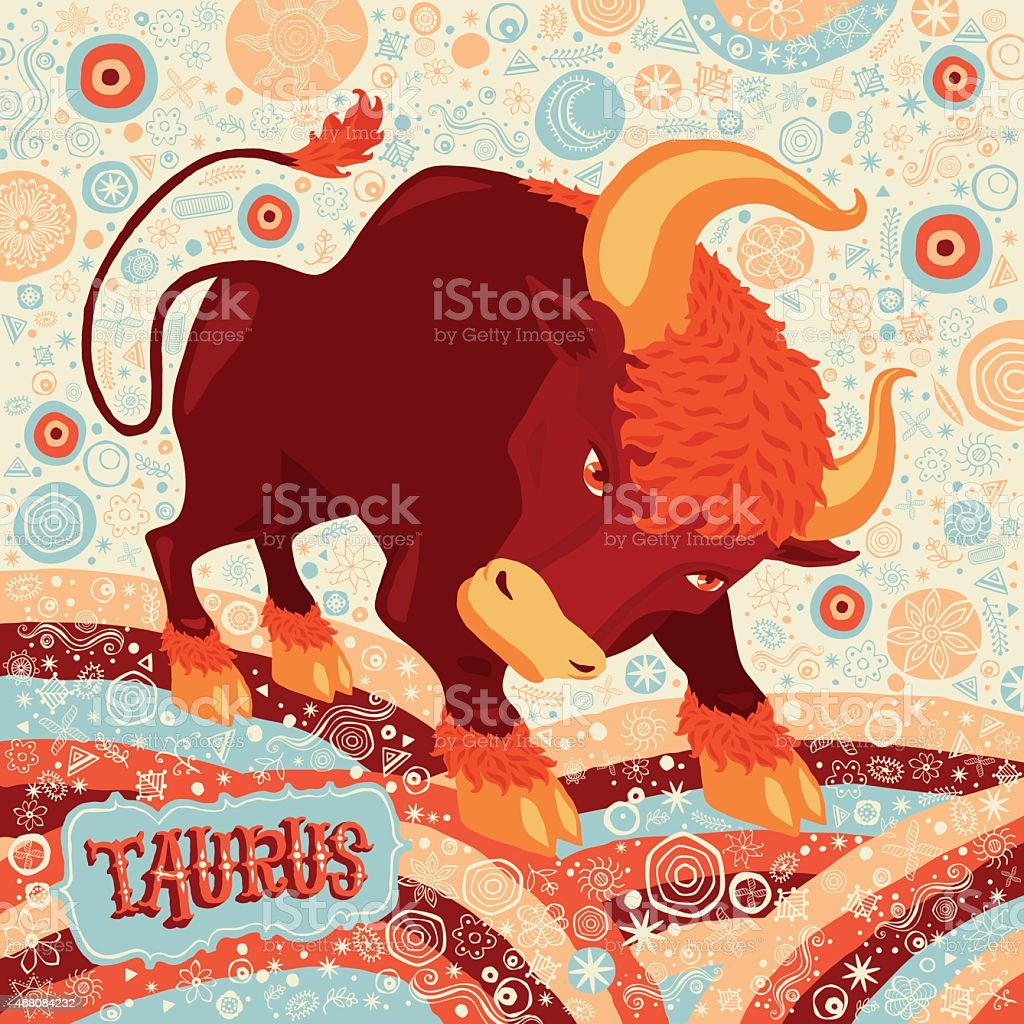 Astrological zodiac sign Taurus. Part of a set of horoscope signs. vector art illustration