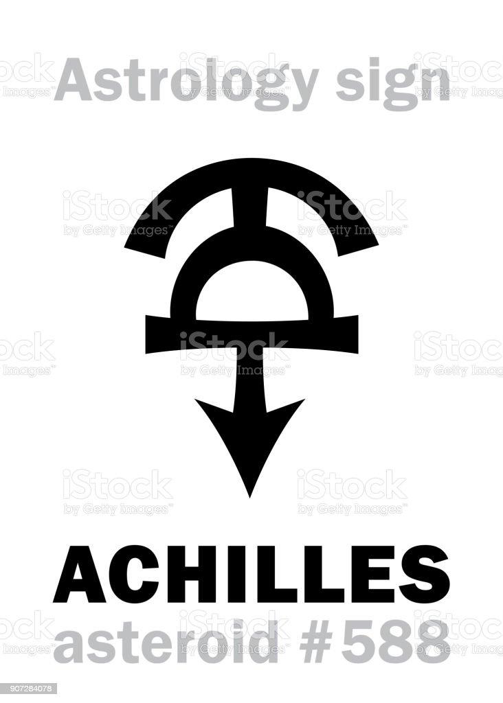 Astrology Alphabet: ACHILLES, asteroid #588. Hieroglyphics character sign (single symbol). vector art illustration
