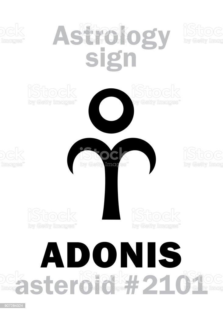 Alphabet de l'astrologie: ADONIS (Attis), astéroïde #2101. Hiéroglyphes caractère sign (symbole unique). - Illustration vectorielle