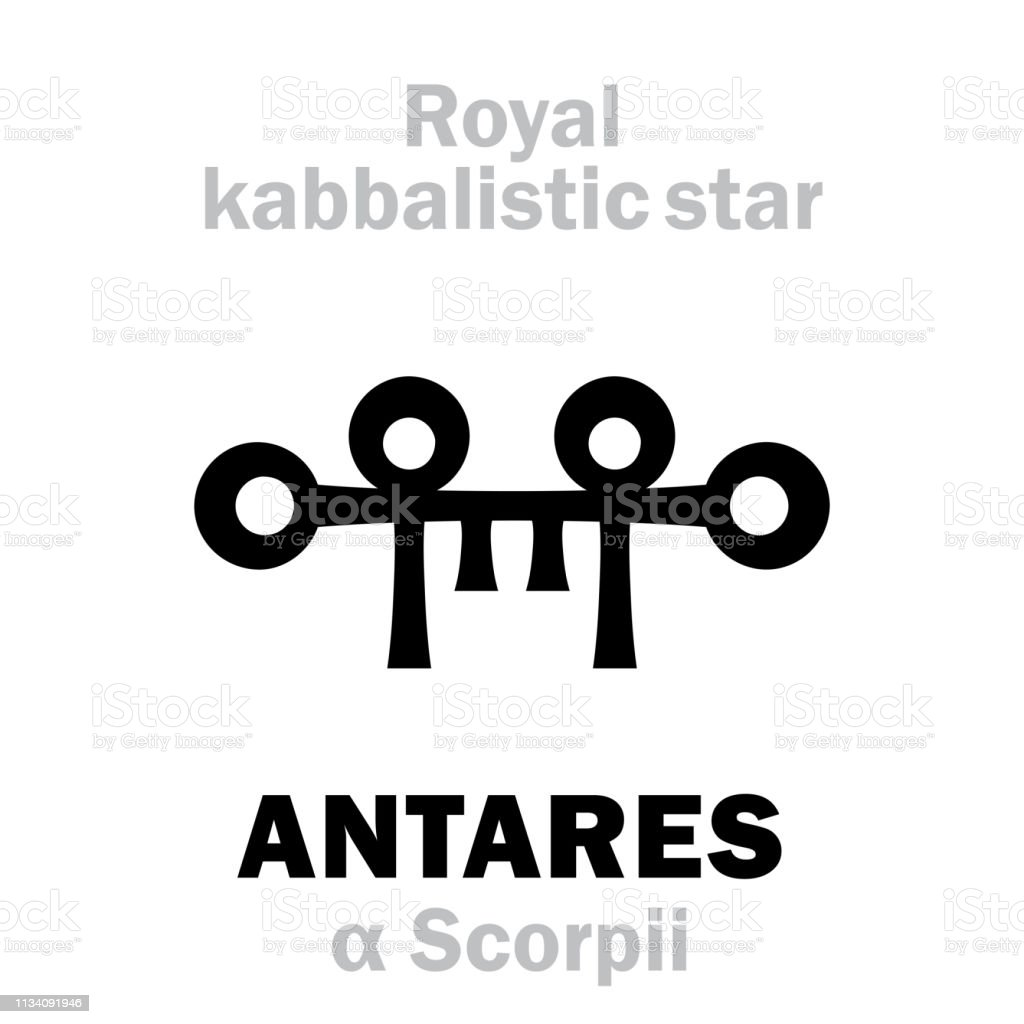 Astrology Alphabet: ANTARES (α Scorpii), «Cor Scorpionis» (The Heart of the Scorpion). Hieroglyphic behenian sign, Medieval hermetic kabbalistic magic symbol (XVI c.). vector art illustration