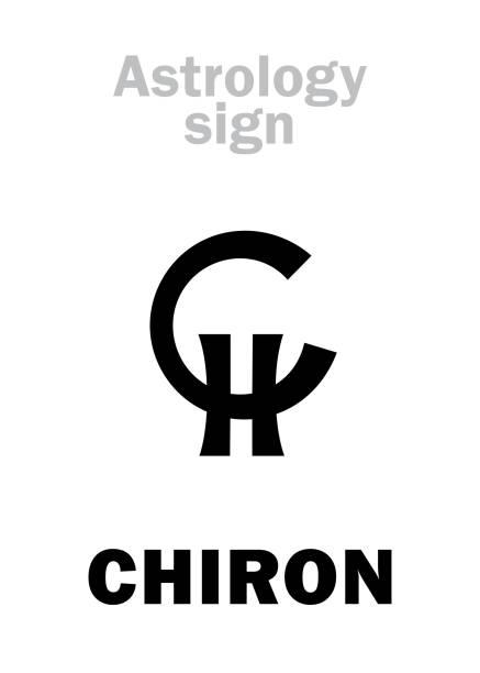 bildbanksillustrationer, clip art samt tecknat material och ikoner med astrologi alfabetet: chiron, planetoid (lilla planet). hieroglyfer karaktär tecken (inledande symbol). - centaurus