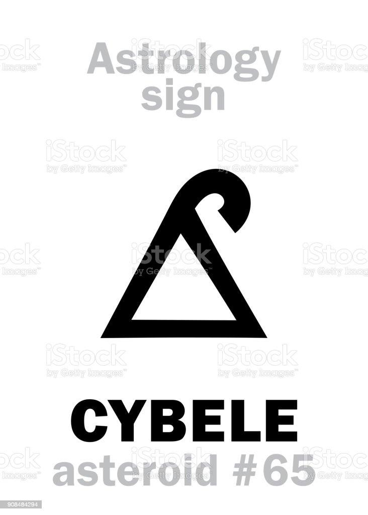Alphabet de l'astrologie: CYBÈLE (Magna Mater), astéroïde #65. Hiéroglyphes caractère sign (symbole unique). - Illustration vectorielle