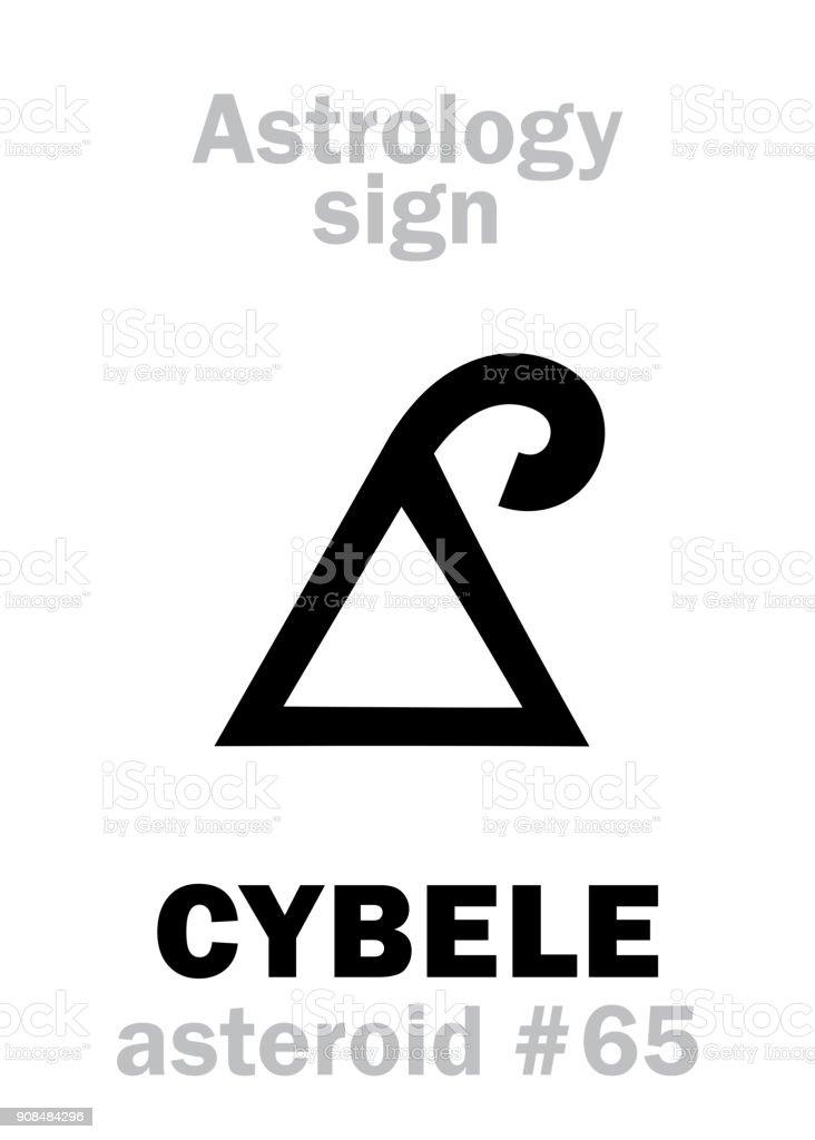 Alphabet de l'astrologie: CYBÈLE (Phrygie), astéroïde #65. Hiéroglyphes caractère sign (symbole unique). - Illustration vectorielle