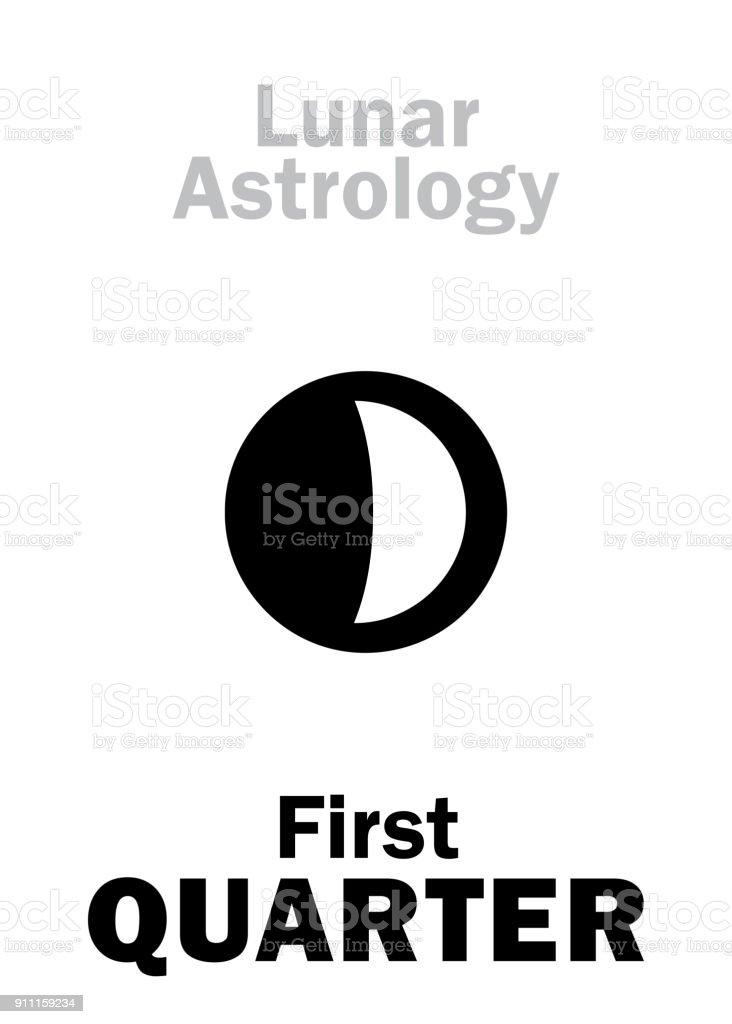 Astrology Alphabet First Quarter Of Moon Stock Vector Art More