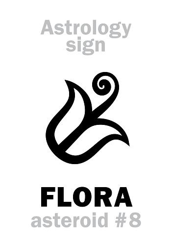 Astrology Alphabet: FLORA, asteroid #8. Hieroglyphics character sign (single symbol).