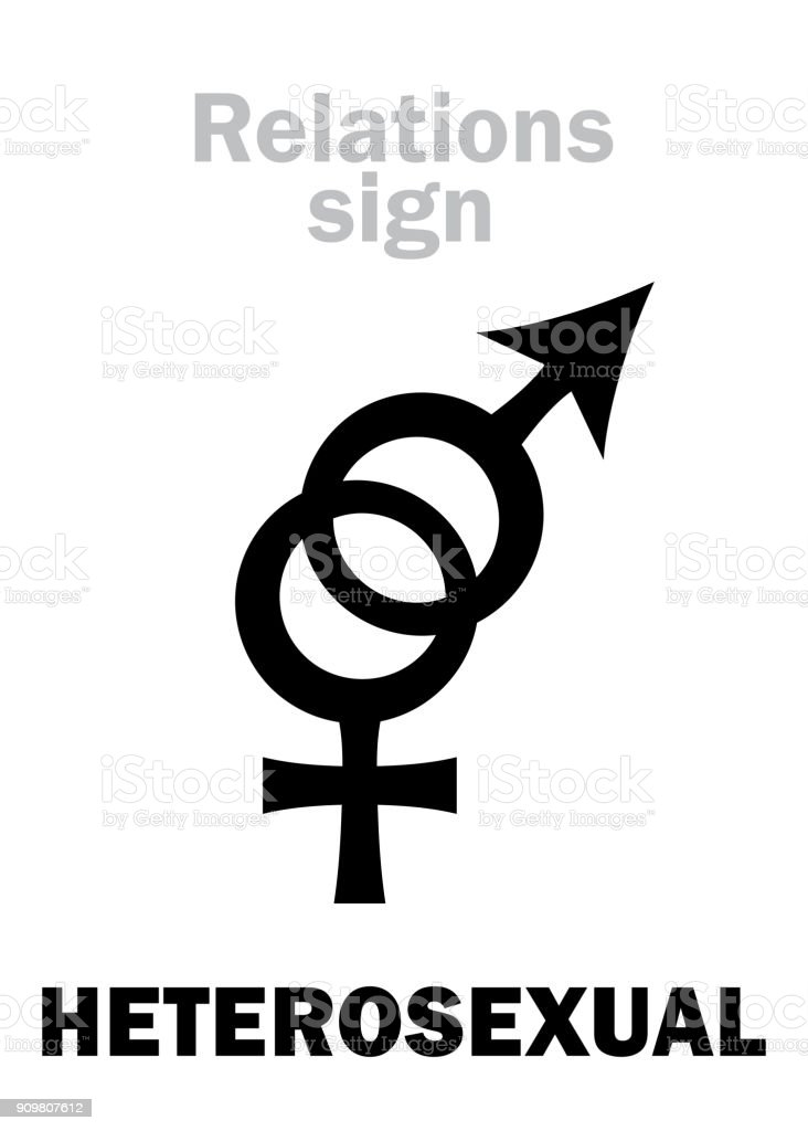 Astrology Alphabet: HETEROSEXUAL Love (between man and woman). Hieroglyphics character sign (pair symbol). vector art illustration