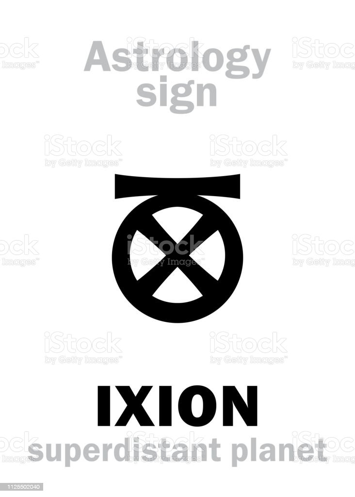 Astrology Alphabet: IXION, superdistant planet. Hieroglyphics character sign (single symbol). vector art illustration