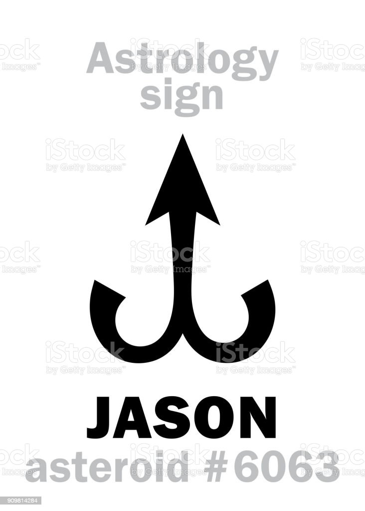 Astrology Alphabet: JASON, asteroid #6063. Hieroglyphics character sign (single symbol). vector art illustration