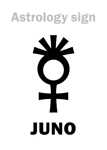Astrology Alphabet: JUNO (Hera), classic asteroid #3. Hieroglyphics character sign (symbol, used since 1855 year).