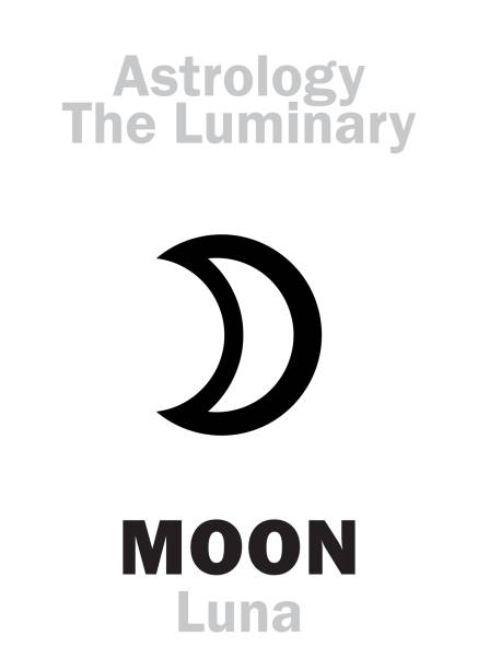 Astrology Alphabet: Luminary MOON (Luna). Hieroglyphics character sign (single symbol). Astrology Alphabet: Luminary MOON (Luna). Hieroglyphics character sign (single symbol). artemis stock illustrations