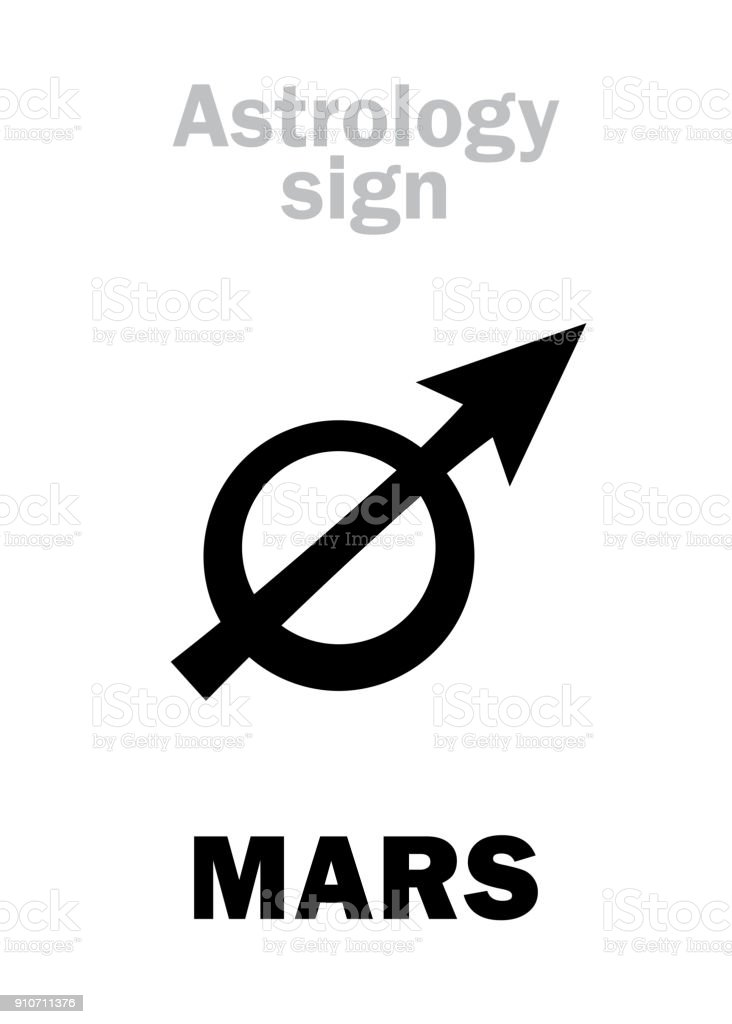 Astrology Alphabet: MARS (Pyroeis), the planetary star (planet). Hieroglyphics character sign (ancient greek symbol). vector art illustration
