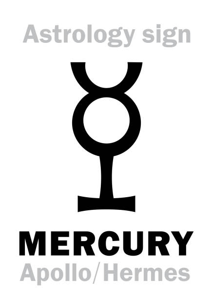 illustrazioni stock, clip art, cartoni animati e icone di tendenza di astrology alphabet: mercury (apollo-hermes), the planetary star (planet-homodrome). hieroglyphics character sign (ancient greek symbol). - ancient medical symbol