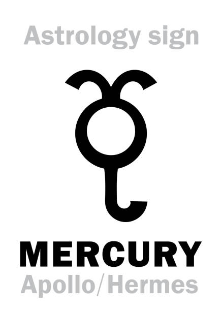 illustrazioni stock, clip art, cartoni animati e icone di tendenza di astrology alphabet: mercury (stilbon), the planetary star (planet). hieroglyphics character sign (ancient greek symbol). - ancient medical symbol