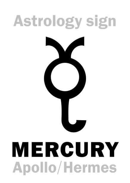 illustrazioni stock, clip art, cartoni animati e icone di tendenza di astrology alphabet: mercury (stilbon/apollo-hermes), the planetary star (planet-homodrome). hieroglyphics character sign (ancient greek symbol). - ancient medical symbol