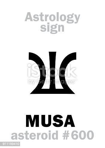 istock Astrology Alphabet: MUSA (Divine inspiration), asteroid #600. Hieroglyphics character sign (single symbol). 911159410