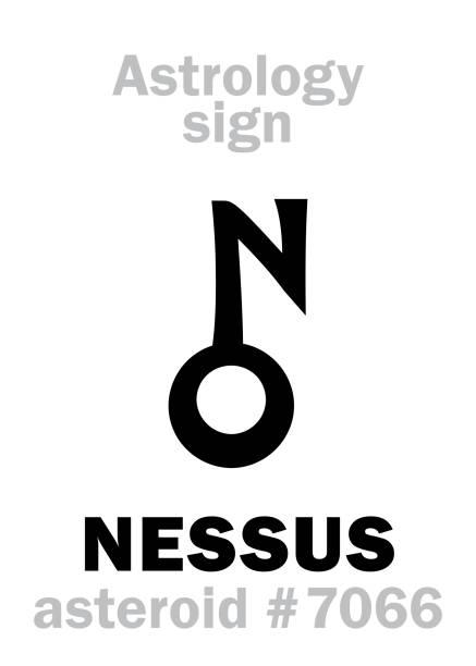 bildbanksillustrationer, clip art samt tecknat material och ikoner med astrologi alfabetet: nessus (centaur), asteroid #7066, mellan (banor neptunus) och saturnus objekt i cis-kuiperbältet. hieroglyfer karaktär tecken (symbol, föreslås i sena 1990-talet). - centaurus