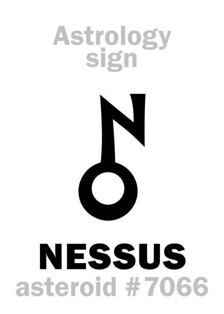 bildbanksillustrationer, clip art samt tecknat material och ikoner med astrologi alfabetet: nessus, asteroid #7066, mellan (banor neptunus) och saturnus objekt i cis-kuiperbältet. hieroglyfer karaktär tecken (symbol, föreslås i sena 1990-talet). - centaurus