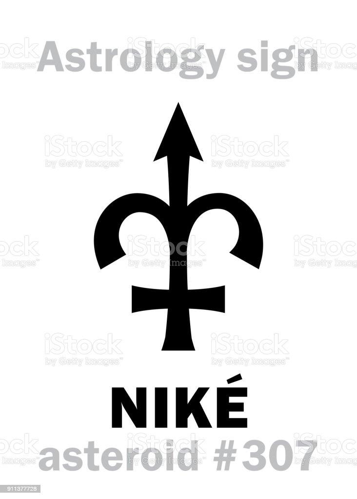 Astrology Alphabet: NIKÉ, asteroid #307. Hieroglyphics character sign (single symbol). vector art illustration
