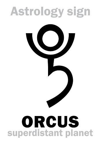 Astrology Alphabet: ORCUS, superdistant planet-plutino (beside Pluto). Hieroglyphics character sign (single symbol).