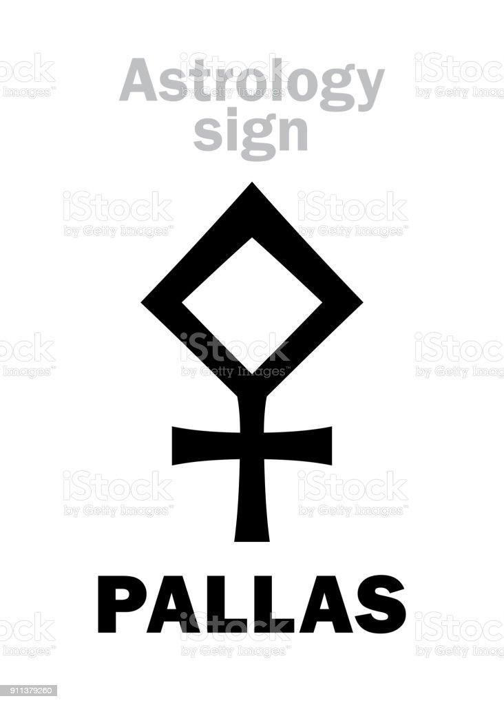 Astrology Alphabet: PALLAS ATHENA, classic asteroid. Hieroglyphics character sign (single symbol). vector art illustration