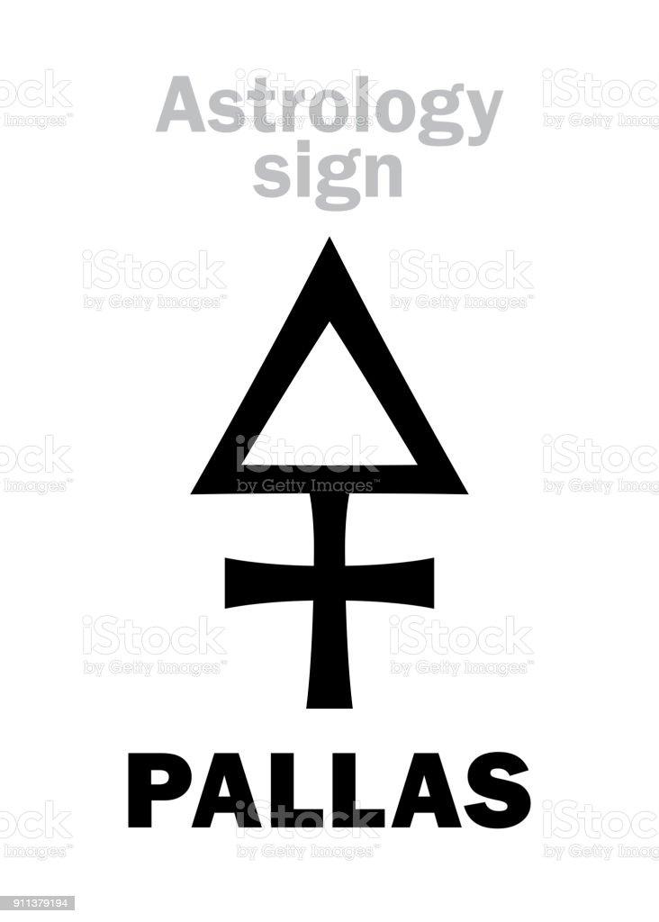 Astrology Alphabet: PALLAS (Minerva), classic asteroid. Hieroglyphics character sign (single symbol). vector art illustration