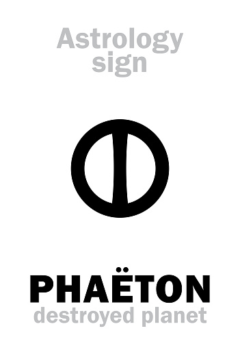 Astrology Alphabet: PHAËTON (Juno), hypothetic destroyed planet (between Mars and Jupiter, now Asteroids belt). Hieroglyphics character sign (single symbol).