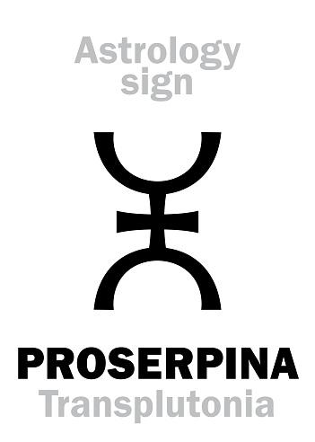 Astrology Alphabet: PROSERPINA (Transplutonia/Persephona), supreme hypothetical super-distant planet (behind Pluto). Hieroglyphics character sign (single symbol).