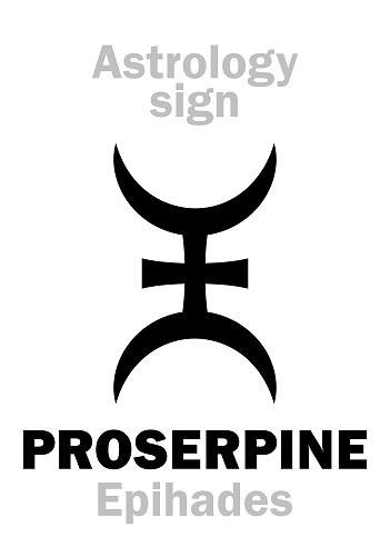 Astrology Alphabet: PROSERPINE (Epihades), supreme hypothetic planet (behind Pluto). Hieroglyphics character sign (single symbol).