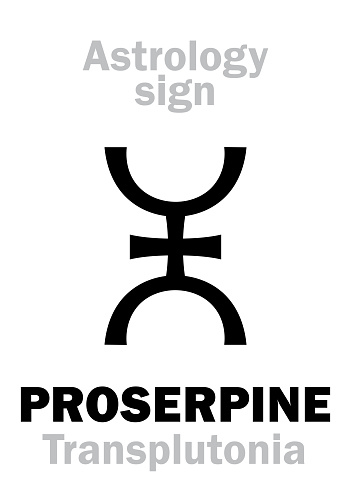 Astrology Alphabet: PROSERPINE (Transplutonia/Persephona), supreme hypothetic superdistant planet (behind Pluto). Hieroglyphics character sign (single symbol).