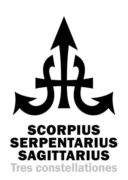 bildbanksillustrationer, clip art samt tecknat material och ikoner med astrologi alfabetet: skorpionen + serpentarius + skytten (höstlig konstellationer i oktober, november, december). hieroglyfer karaktär tecken (tre-i-ett sammansatt symbol). - centaurus