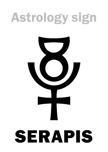 Astrology Alphabet: SERAPIS / Osiris-Apis (Userhapi), the Hellenistic Egyptian god of abundance, fertility, underworld and afterlife. Hieroglyphics character sign (original single symbol).